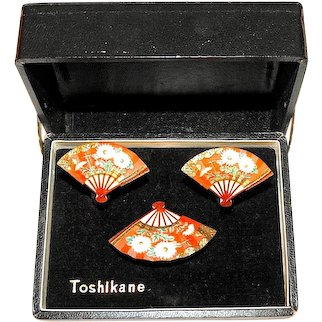 Toshikane Set IOB Brooch and Earrings Red Fans with White Flowers Signed Vintage