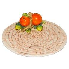 Vintage Ceramic Plate Fruit on Basket Weave Pattern Japan