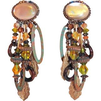 Chipita Earrings MOP and Bead Dangles Joan Eagle Signed Vintage