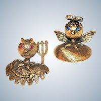 Tortolani Brooch Set Angel and Devil Shoulder Pins Rare Vintage Book Pieces