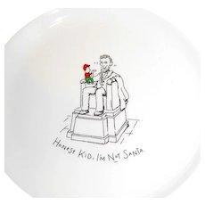 Christmas Cartoon Plate Abraham Lincoln as Santa Claus Vintage Ceramic Collector