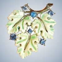 Lisner Brooch Maple Leaves Green and White with Blue Rhinestones Signed Vintage