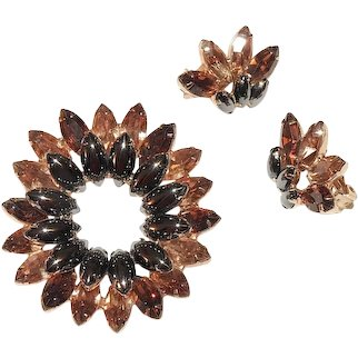 Schrager Brooch and Earrings Set Hematite and Amber Rhinestones Rare Signed Vintage