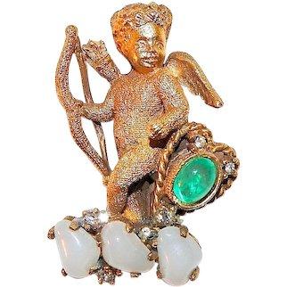 DeNicola Brooch Cupid Cherub with Moonstones and Rhinestones Signed Vintage