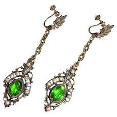 Antique Earrings Emerald Green with Fleur de Lis French Art Nouveau