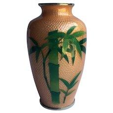 Vintage Sato Japanese Cloisonne Ginbari Vase Japan Rare Salmon