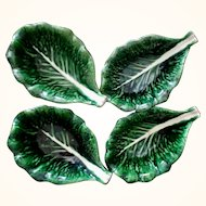 Vintage Majolica Cabbage Leaf Bowls from Portugal