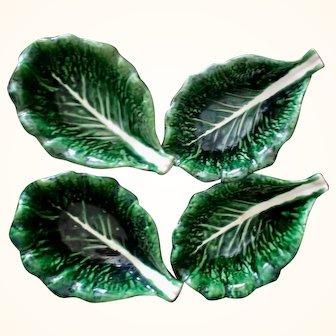 Vintage Majolica Cabbage Leaf Bowls from Portugal