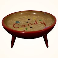 Vintage Mid Century Atomic Wood Candy Dish with Hairpin Legs