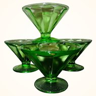 Vintage Set of 4 Federal Uranium Glass Low Footed and Fluted Sherbets