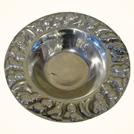 "Vintage 12 1/2"" Large Pewter Serving Bowl Hand Made in Mexico"