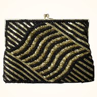 Vintage Magid Art Deco Style Black & Gold Beaded Evening Bag/Clutch Circa 1980's