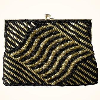 Vintage Magid Art Deco Style Black & Gold Beaded Evening Bag/Clutch Circa 1980's