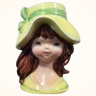"Vintage Teen Lady Head Vase 6"" Brunette"