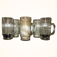 "Vintage Ribbed Soda Fountain Glasses with the ""D"" Handle - Set of 6"