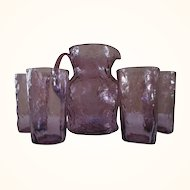 MCM Amethyst Crinkle Glass Pitcher + 4 Glasses