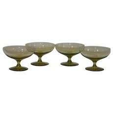 MCM Russel Wright Chartreuse Set of 4 Coupes