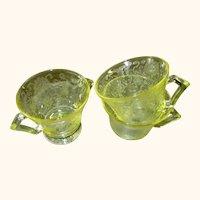 Vintage Florentine Poppy #2 Sugar Bowl & 2 Flat Saucer