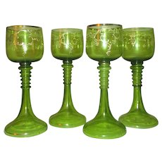Bohemian Olive Green and Gold Gilt Goblets