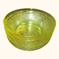 Hazel Atlas Florentine Poppy #2 Yellow Berry/Dessert Bowls