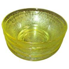 Hazel Atlas Florentine Poppy #2 Yellow Berry/Dessert Bowls