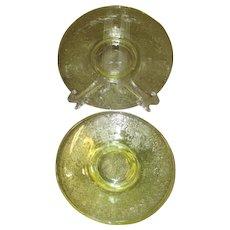 Hazel Atlas Florentine Poppy #2 Yellow Saucers (Set of 4)