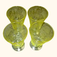 Hazel Atlas (Set of 4) Florentine Yellow Poppy #2 Footed Tumblers