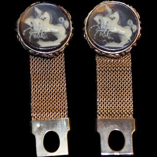Vintage  Wraparound Mesh Cameo Horses Cufflinks