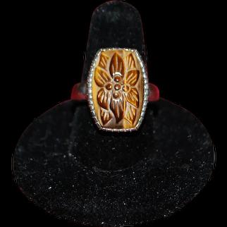 Whitney Kelly WK 925 carved tigers eye plumeria flower ring. Size 6