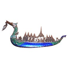 Vintage Sterling Silver Enamel Dragon Ship Brooch. Marked Siam.