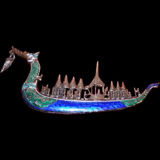 Vintage Sterling Silver Enamel Dragon Ship Brooch. Marked Siam.
