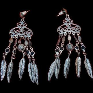 Vintage Southwestern Five Feather  set of earrings.