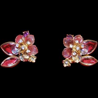 Vintage clear bead flower Vendome earrings