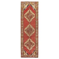 "Vintage Turkish Oushak Runner, 3'6"" x 11'"