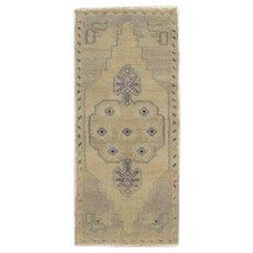 "Vintage Turkish Hand-Knotted Yastik Rug, 1'6"" x 3'3"""