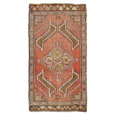 "Vintage Turkish Yastik Hand Knotted Wool Rug, 1'7"" X 2'11"""