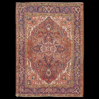"Vintage Persian Heriz Rug, 4'8"" x 6'5"""