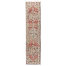 Vintage Turkish Oushak Rug, 2'6 x 10'6