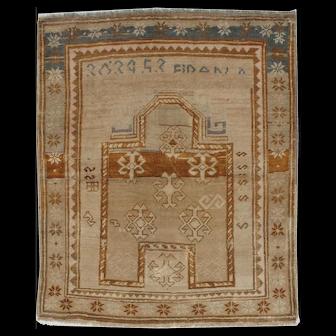 "Vintage Turkish Oushak Rug, 3'7"" x 4'3"""