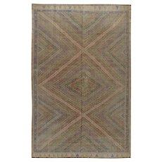 Vintage Persian Jajim Flat Weave Rug, 6'10 x 10'2