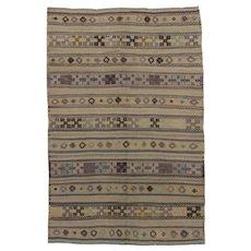 Vintage Turkish Flat Weave Jajim Kilim Rug, 5'1 x 7'8