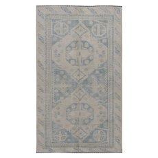 Vintage Turkish Oushak Rug, 4'3 x 7'4