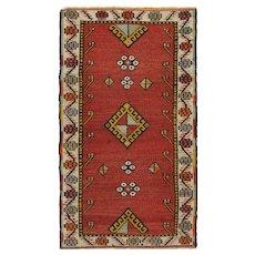 Vintage Turkish Brick RedYastikRug, 1'8 x 2'11