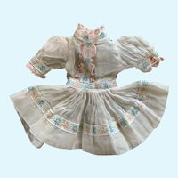 Vintage Cotton Organdy Doll Dress for French German Bisque
