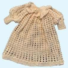 Lovely Cream Crochet Doll Gown for French German Baby Child