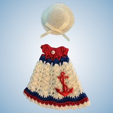 Sweet Nautical Crocheted Dress with Straw Hat for Tiny Doll