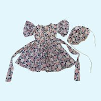 Lovely Sheer Floral Cotton Dress and Bonnet for Izannah Walker Doll