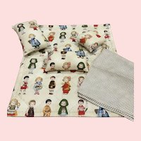 Charming Handsewn Doll Quilt With 3 Pillows and a Sheet