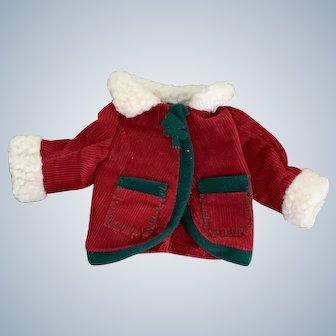 Corduroy Christmas Jacket for Small Bear or Doll