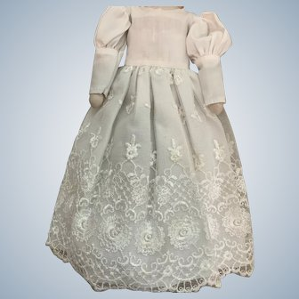 Lacy White Dress for Small Doll